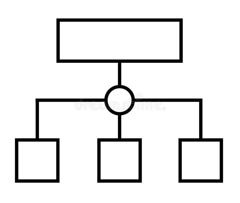 Linha fina ícone do planeamento de programa ou dos trabalhos do sitemap styt liso ilustração stock
