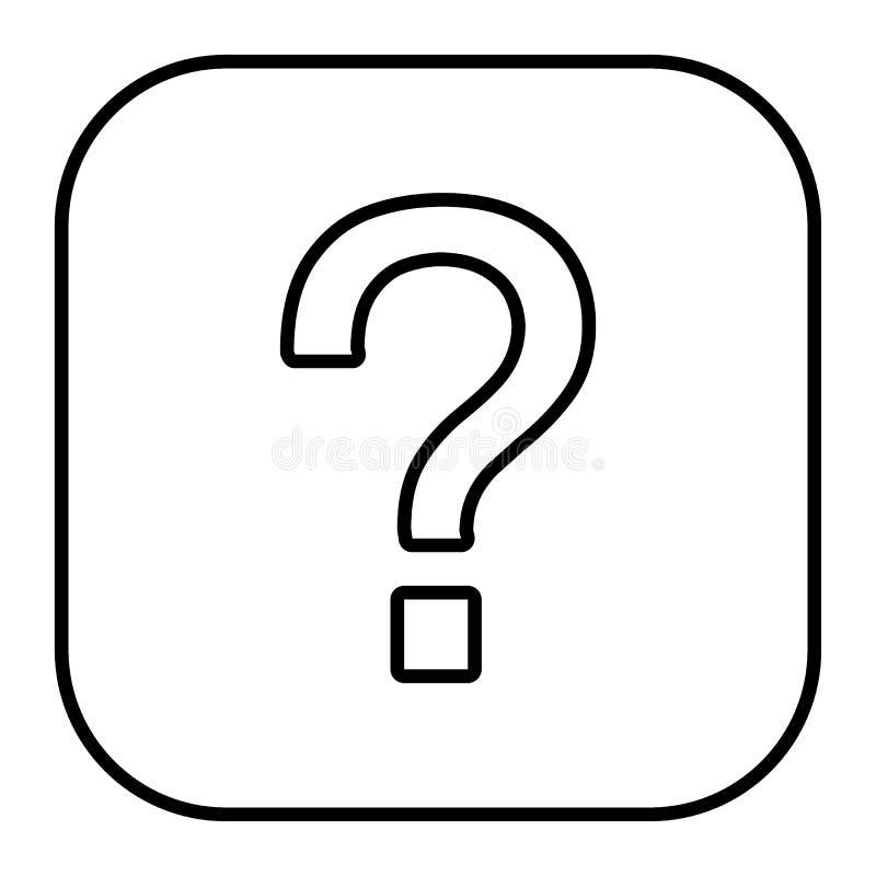 Linha fina ícone do ponto de interrogação Ilustração do vetor do sinal da pergunta isolada no branco Peça o projeto do estilo do  ilustração royalty free