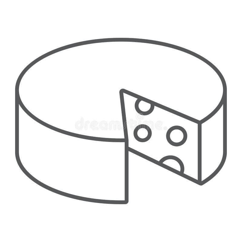 Linha fina ícone do queijo, alimento e leite, sinal do queijo Cheddar, gráficos de vetor, um teste padrão linear em um fundo bran ilustração stock