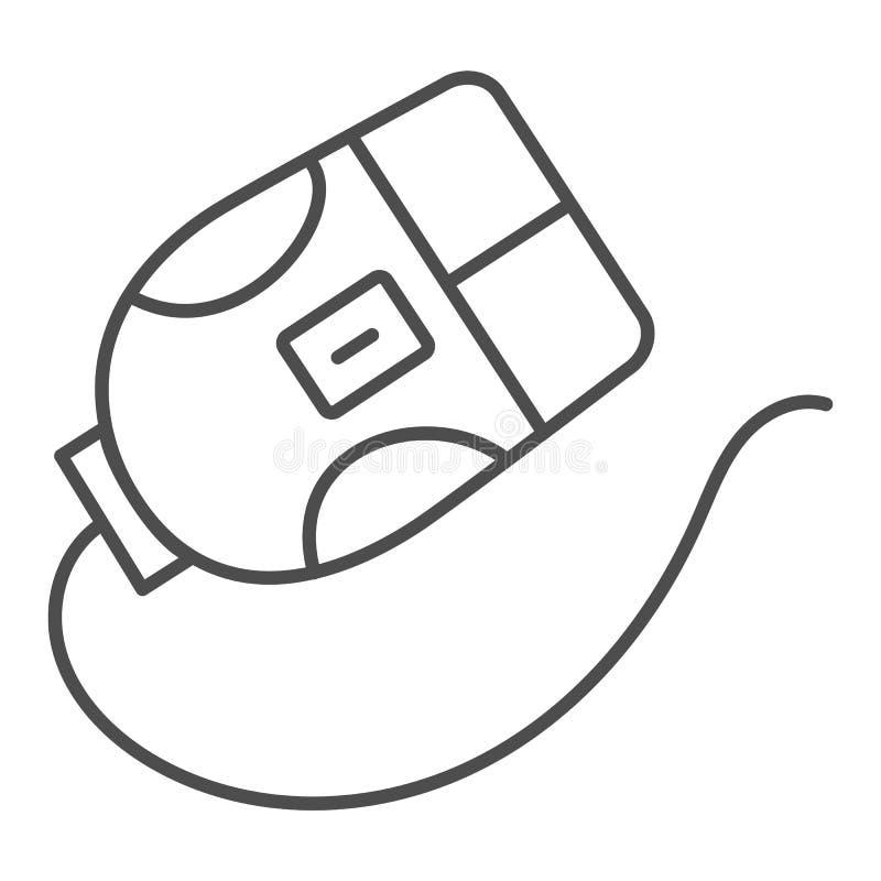 Linha fina ícone do rato do computador Ilustração do vetor do clique isolada no branco Projeto do estilo do esboço do dispositivo ilustração do vetor