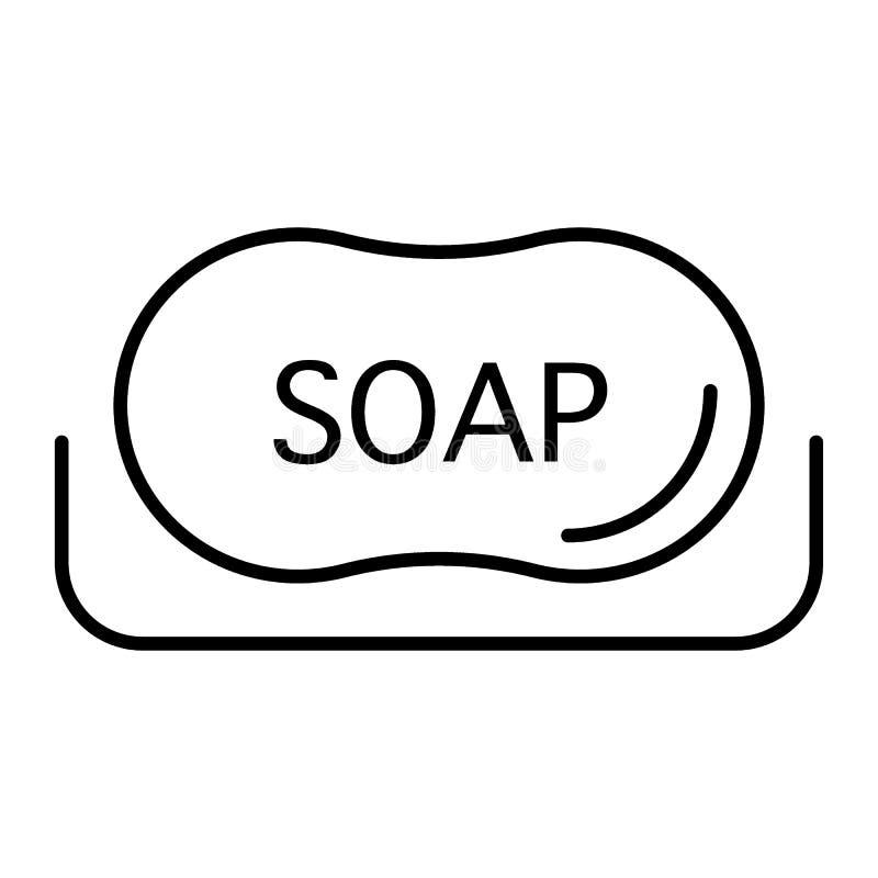 Linha fina ícone do sabão Ilustração da higiene isolada no branco Projeto do estilo do esboço dos arti'culos de tocador, projetad ilustração do vetor