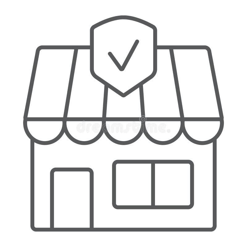 Linha fina ícone do seguro comercial, propriedade e segurança, sinal do seguro patrimonial, gráficos de vetor, um teste padrão li ilustração do vetor