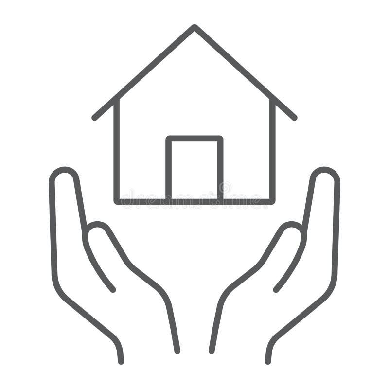 Linha fina ícone do seguro da casa, propriedade e propriedade, sinal do cuidado da casa, gráficos de vetor, um teste padrão linea ilustração royalty free
