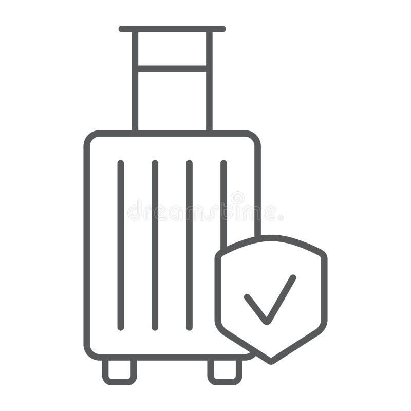 Linha fina ícone do seguro de bagagem, proteção e bagagem, sinal de segurança do curso, gráficos de vetor, um teste padrão linear ilustração stock