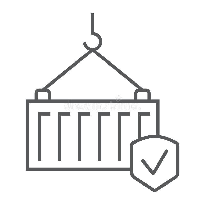 Linha fina ícone do seguro de carga, entrega e proteção, sinal de segurança do transporte, gráficos de vetor, um teste padrão lin ilustração do vetor