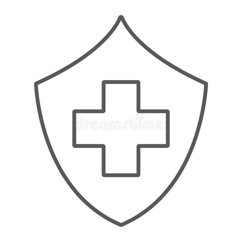 Linha fina ícone do seguro de saúde, segurança e cuidado, sinal dos cuidados médicos, gráficos de vetor, um teste padrão linear e ilustração stock
