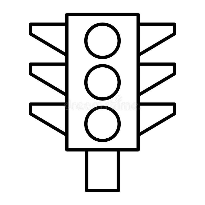Linha fina ícone do sinal Ilustração do sinal de tráfego isolada no branco Projeto do estilo do esboço das luzes, projetado  ilustração royalty free
