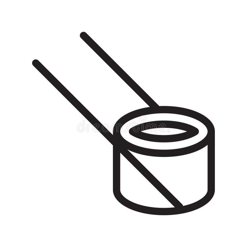 Linha fina ?cone do sushi do vetor ilustração stock