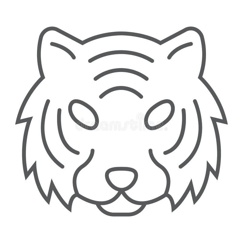 Linha fina ícone do tigre, animal e jardim zoológico, sinal do gato ilustração royalty free