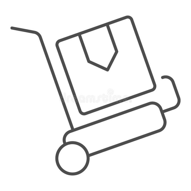 Linha fina ícone do trole da entrega dos pacotes Ilustra??o do vetor do carro da carga isolada no branco Projeto do estilo do esb ilustração do vetor