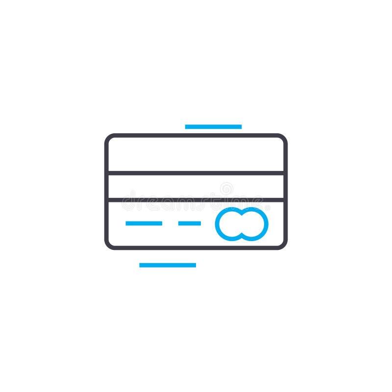 Linha fina ícone do vetor do cartão de crédito do curso Ilustração do esboço do cartão de crédito, sinal linear, conceito do símb ilustração stock