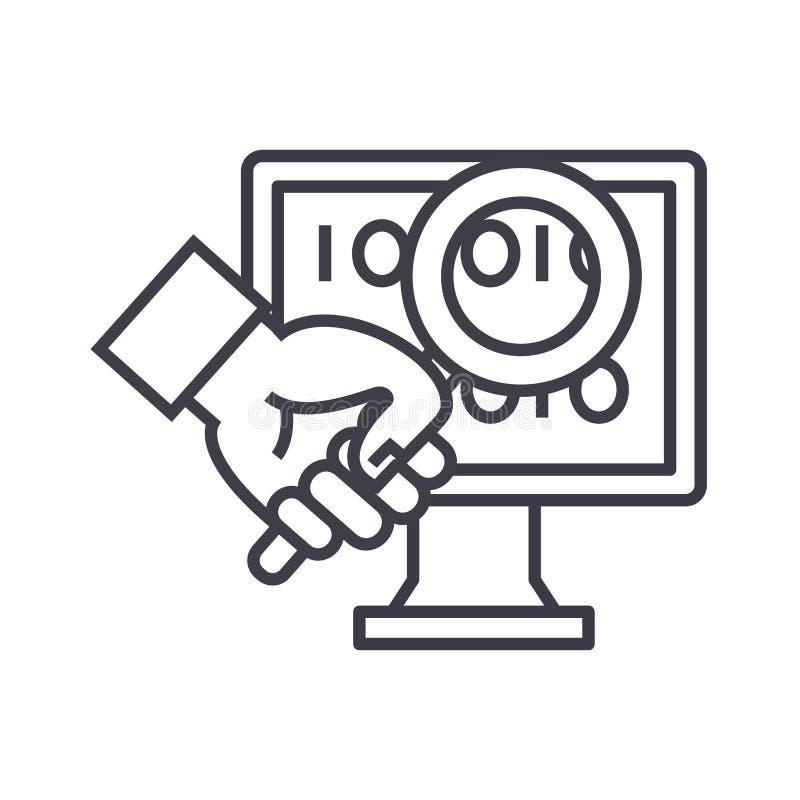 Linha fina ícone do vetor do conceito dos diagnósticos do computador, símbolo, sinal, ilustração no fundo isolado ilustração royalty free