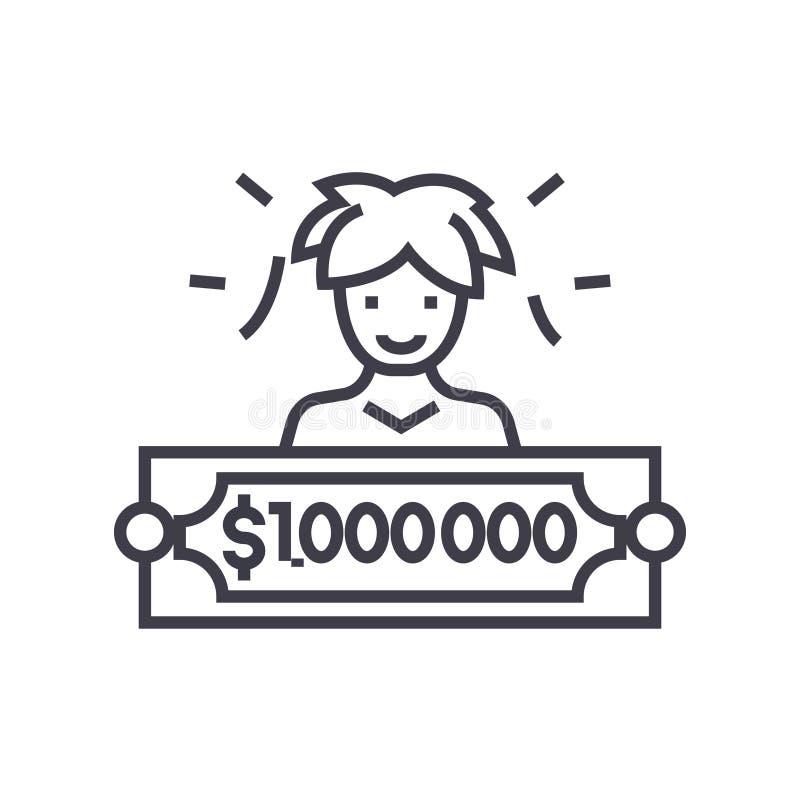Linha fina ícone do vetor do conceito do vencedor de loteria ilustração stock