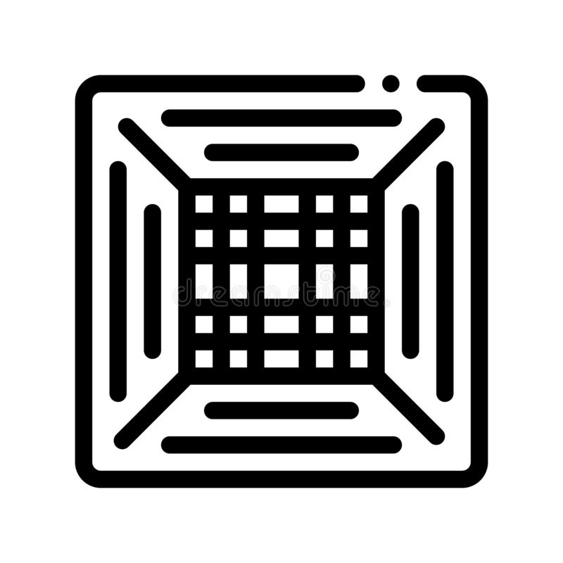 Linha fina ícone do vetor do condicionador do clima do escritório ilustração stock