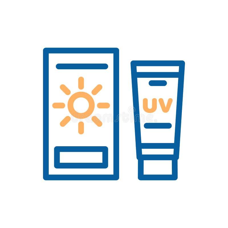 Linha fina ícone do vetor do creme de pele da proteção solar Sunblock para a proteção do corpo sob a ilustração do sol ilustração do vetor
