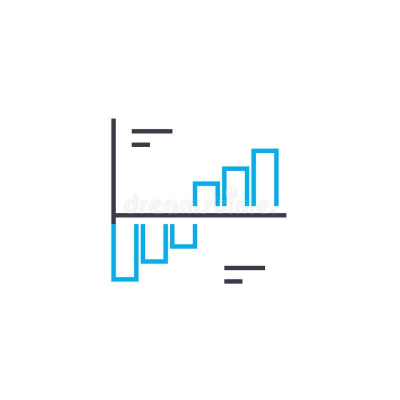 Linha fina ícone do vetor da análise da dinâmica do curso Ilustração do esboço da análise da dinâmica, sinal linear, conceito do  ilustração do vetor