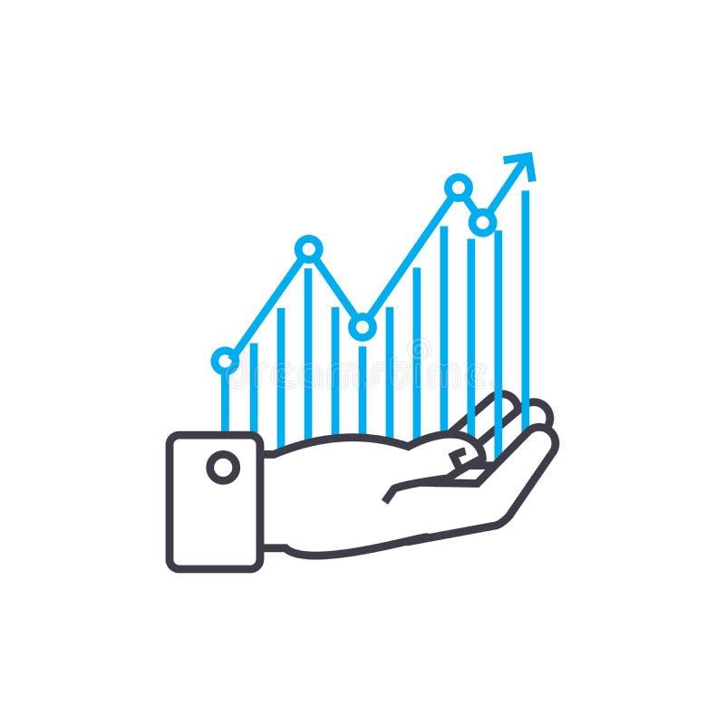 Linha fina ícone do vetor da monitoração da rentabilidade do curso Ilustração do esboço da monitoração da rentabilidade, sinal li ilustração do vetor