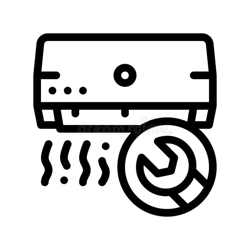 Linha fina ícone do vetor do fã do condicionador de ar do reparo ilustração stock