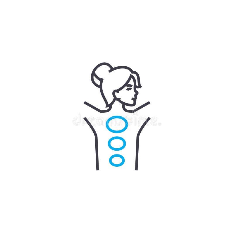 Linha fina ícone do vetor manual da terapia do curso Ilustração manual do esboço da terapia, sinal linear, conceito do símbolo ilustração royalty free