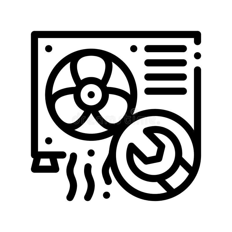 Linha fina ícone do vetor do reparo de sistema do condicionador ilustração do vetor