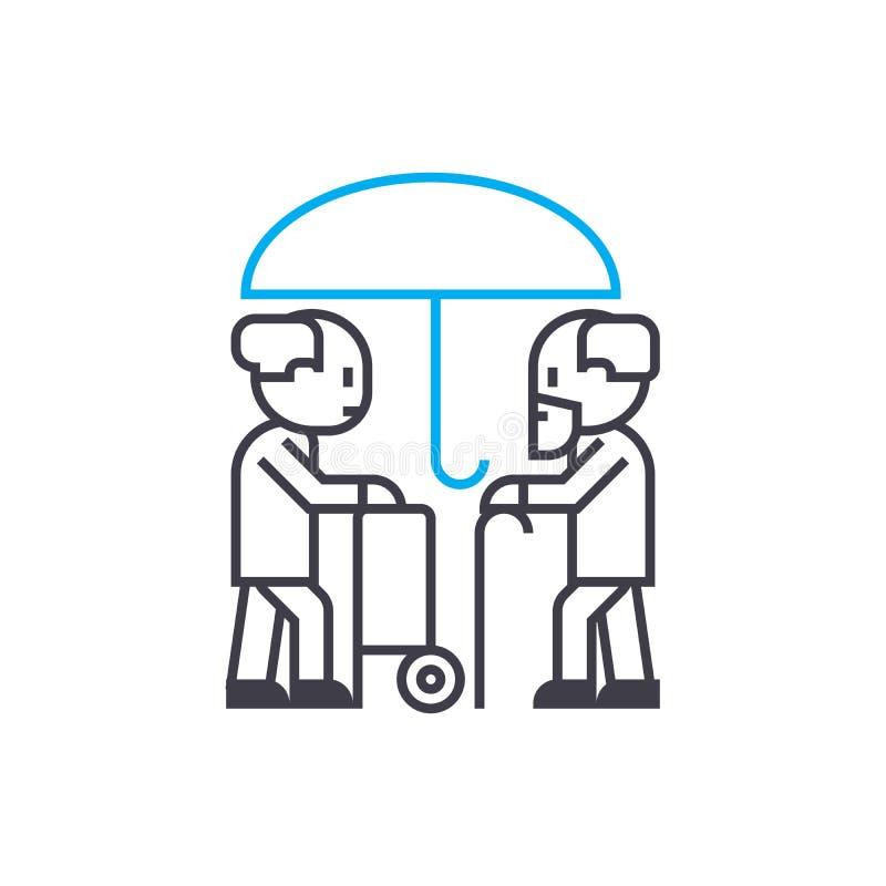 Linha fina ícone do vetor do seguro da longevidade do curso Ilustração do esboço do seguro da longevidade, sinal linear, conceito ilustração stock