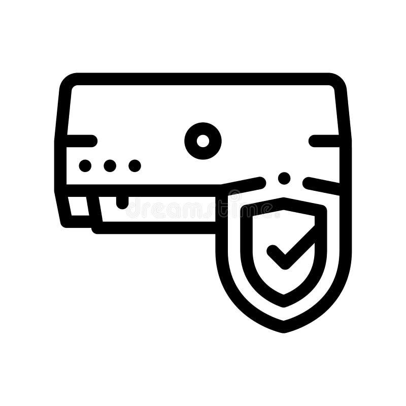 Linha fina ícone do vetor do sistema do condicionador da proteção ilustração stock