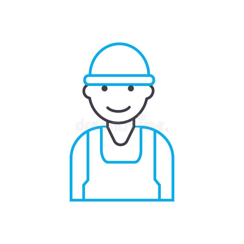 Linha fina ícone do vetor do trabalhador da construção do curso Ilustração do esboço do trabalhador da construção, sinal linear,  ilustração stock