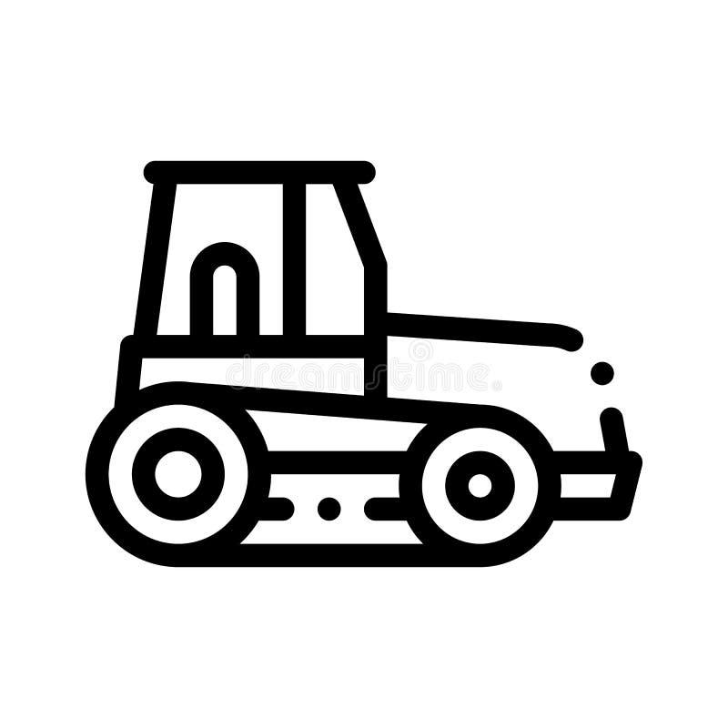 Linha fina ícone do vetor do veículo do trator de Caterpillar ilustração stock