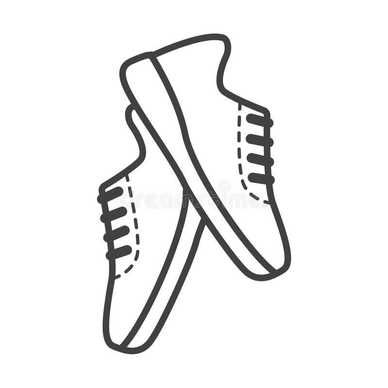 Linha fina ícone dos tênis de corrida ilustração do vetor