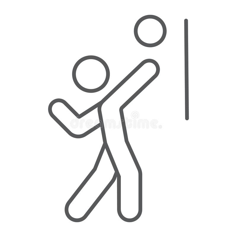 Linha fina ícone, esporte e ativo do jogador de voleibol, pessoa com sinal da bola, gráficos de vetor, um teste padrão linear em  ilustração do vetor