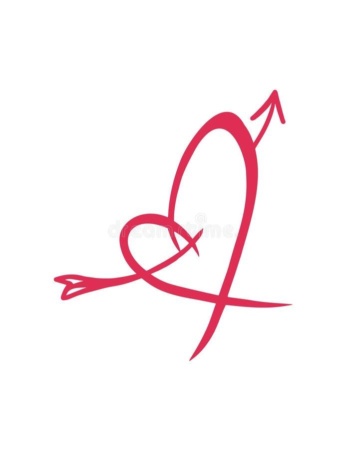 Linha fina ícone golpeado amor do coração ilustração stock