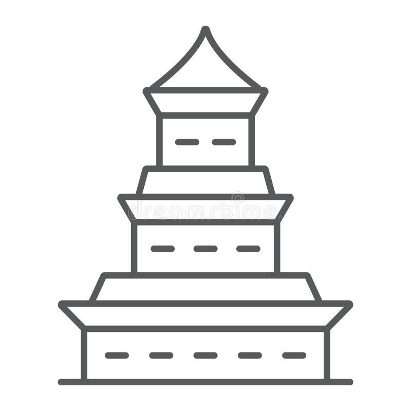 Linha fina ícone, japão e arquitetura do pagode, sinal de construção japonês, gráficos de vetor, um teste padrão linear em um bra ilustração royalty free