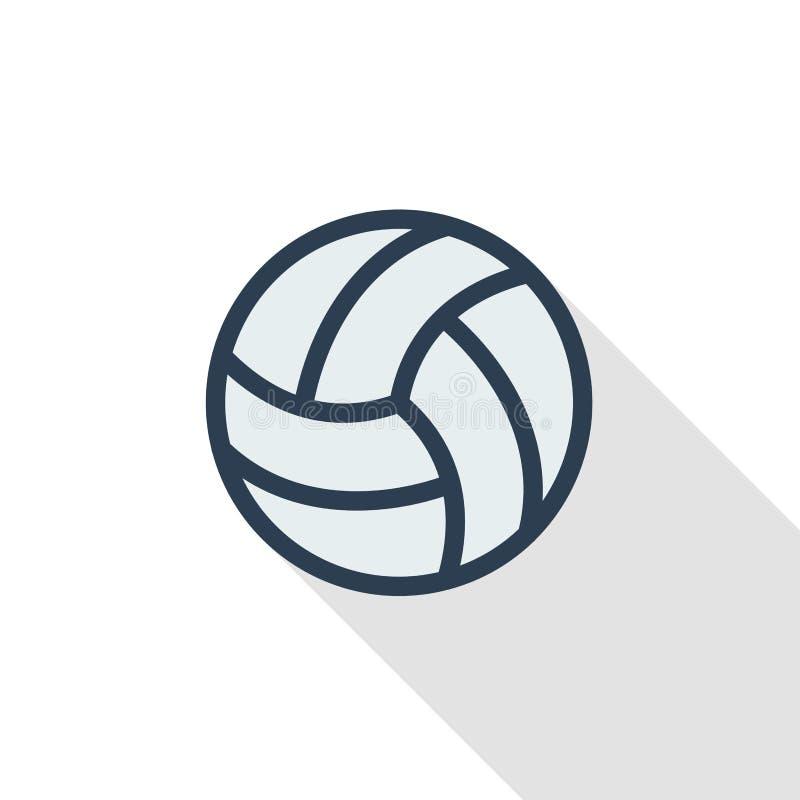 Linha fina ícone liso da bola do voleibol da cor Símbolo linear do vetor Projeto longo colorido da sombra ilustração royalty free