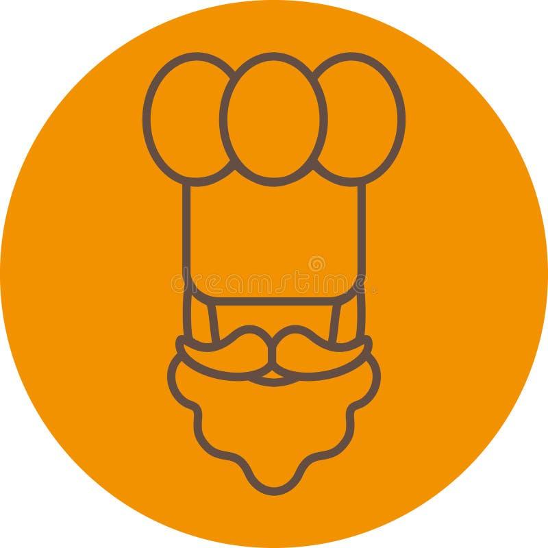 Linha fina ícone liso do cozinheiro/padeiro do cozinheiro chefe - um homem com um bigode uma barba que veste um chapéu do ` s do  foto de stock royalty free