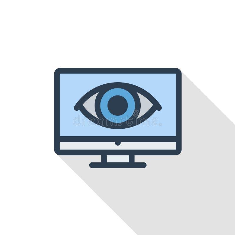 Linha fina ícone liso do pictograma do computador, do portátil, do monotor e do olho da cor Símbolo linear do vetor Projeto longo ilustração royalty free