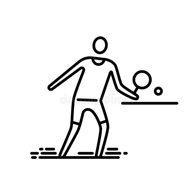 Linha fina ícone Pong do sibilo, jogador de tênis de mesa ilustração do vetor