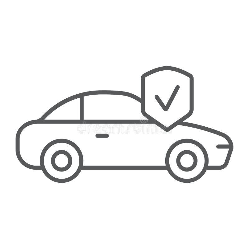 Linha fina ícone, segurança e auto do seguro de carro, sinal da proteção do automóvel, gráficos de vetor, um teste padrão linear  ilustração do vetor
