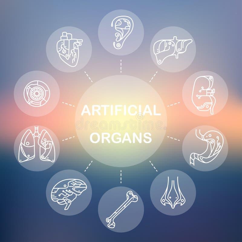 Linha fina ícones - órgãos artificiais 11 ilustração stock