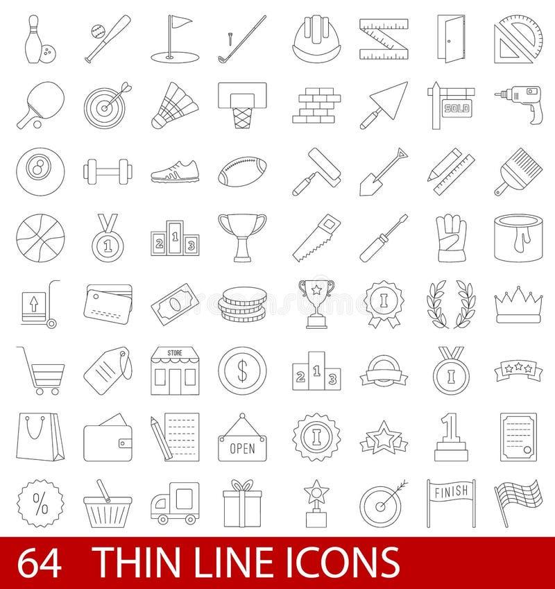Linha fina ícones ajustados ilustração stock