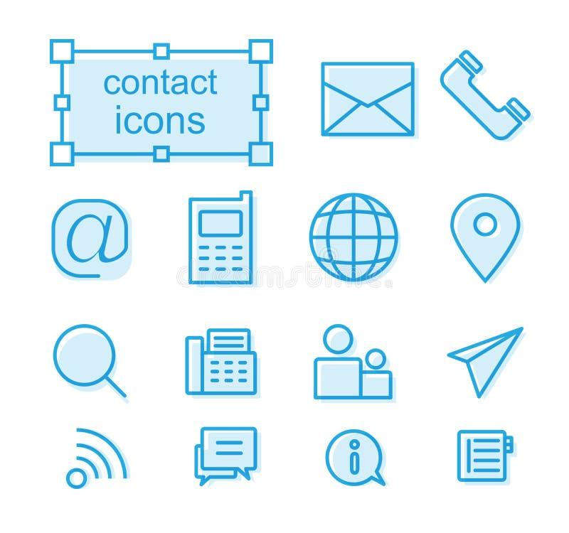 Linha fina ícones ajustados, contato ilustração do vetor