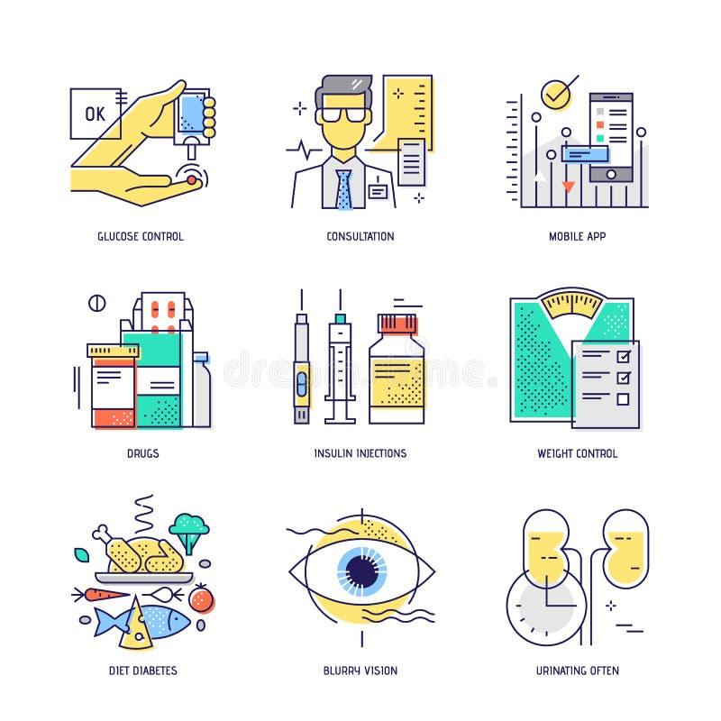 Linha fina ícones ajustados da vida do diabetes Vetor liso ilustração stock