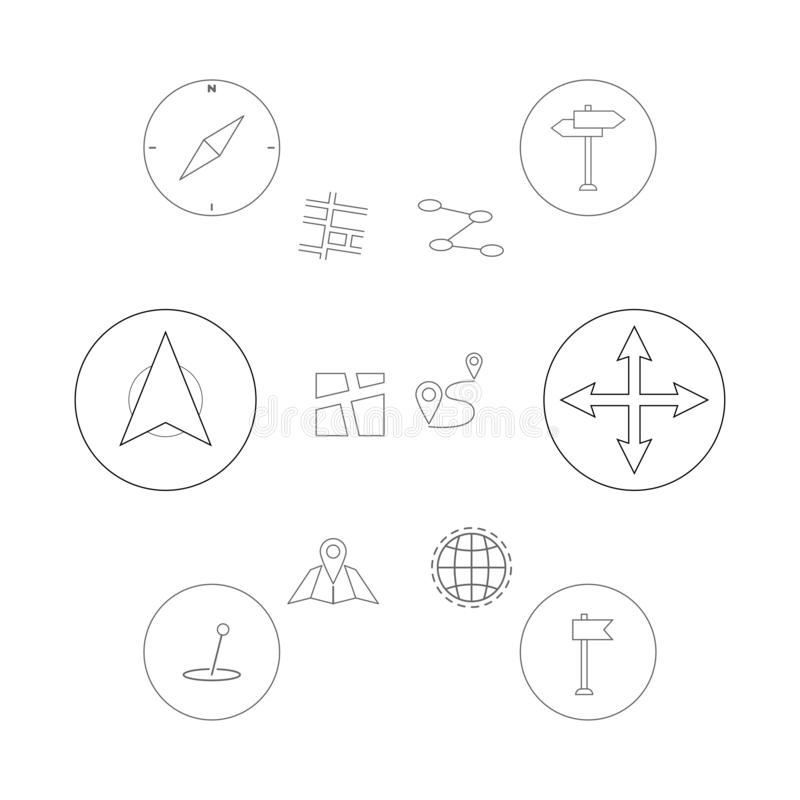 Linha fina ícones ajustados Lugar, navegação e transporte do geo dos Gps Ícones do pino do ponteiro do mapa Ilustração do vetor d ilustração royalty free