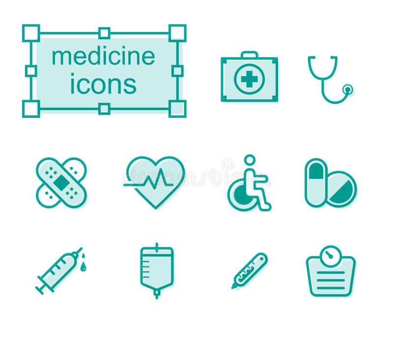 Linha fina ícones ajustados, medicina ilustração stock