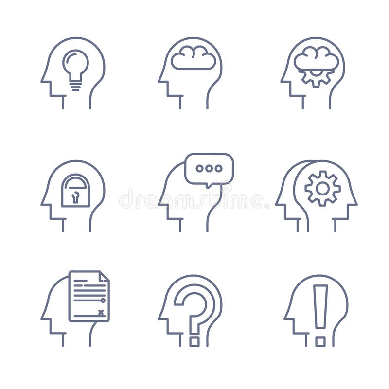 A linha fina ícones ajustou-se da mente humana, processo de pensamento, aprendendo Linha logotipo fotografia de stock royalty free