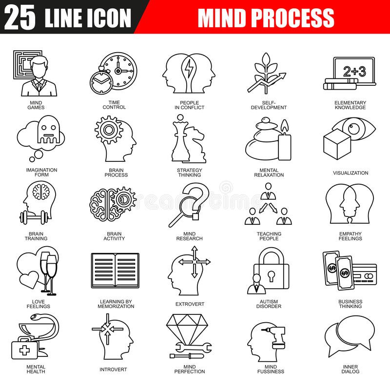 A linha fina ícones ajustou-se de características do cérebro humano, processo da mente ilustração royalty free