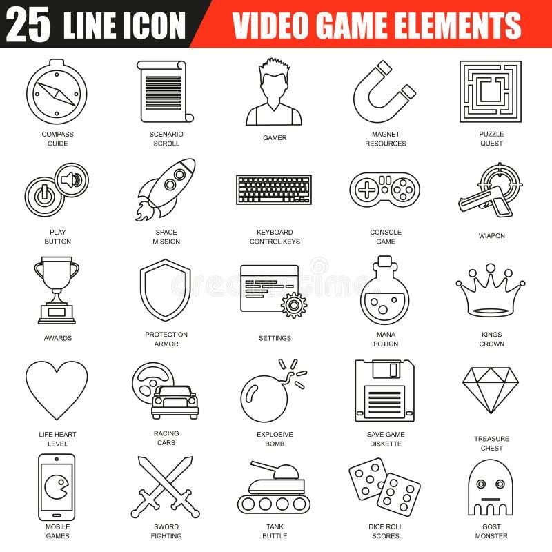 A linha fina ícones ajustou-se de objetos do jogo, elementos móveis do jogo ilustração do vetor