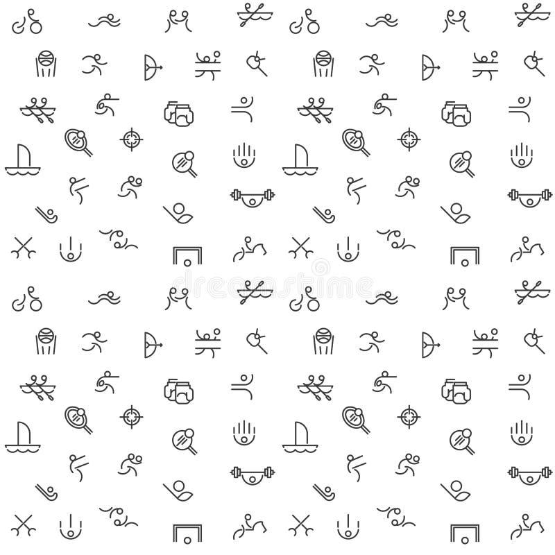 A linha fina ícones ajustou-se do esporte, Jogos Olímpicos do verão ilustração do vetor