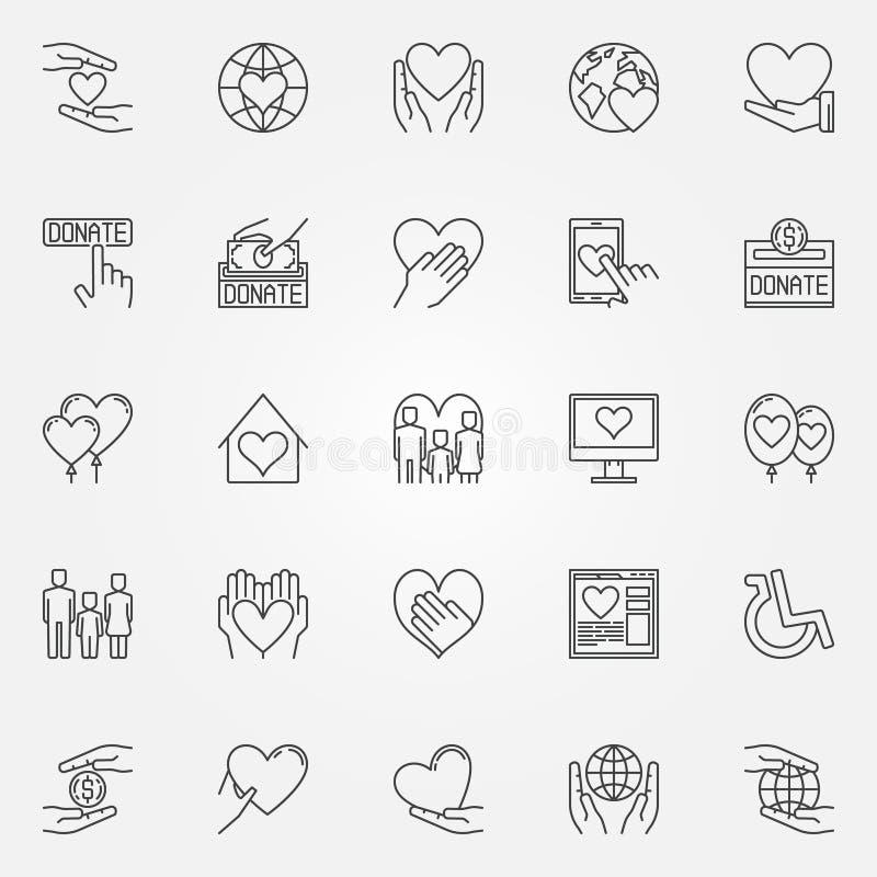 Linha fina ícones da caridade ilustração do vetor