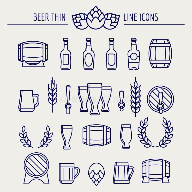 Linha fina ícones da cerveja ajustados ilustração royalty free