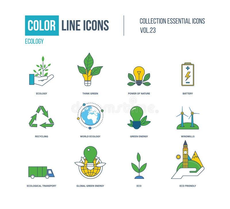 Linha fina ícones da cor ajustados Ecologia, energia verde ilustração stock
